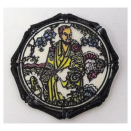 """1970s JanMax Asian Theme """"Stained Glass"""" Style Brooch"""