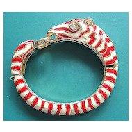 Hinged Enamel Figural Zebra Bracelet