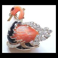 Hattie Carnegie Peach & Black Figural Swan Pin
