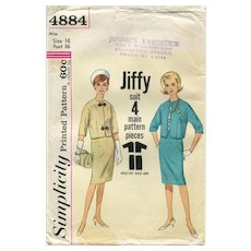 Vintage Uncut 1960s Simplicity Sewing Pattern 4884 ~ Jiffy Suit, Size 16 (Bust 36)