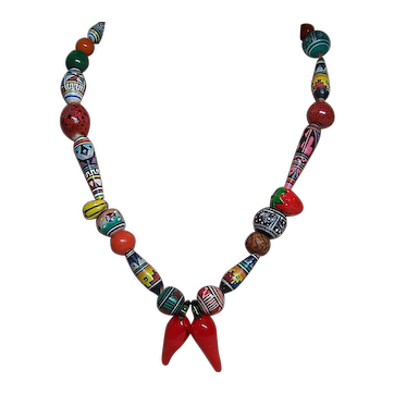 1970s Vintage Ceramic & Glass Bead Tribal Style Necklace ~ Chili Peppers ~ Boho