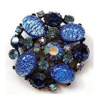 CLAUDETTE Blue Catseye Glass Brooch ~ Japanned Setting