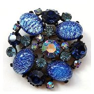 CLAUDETTE Blue Catseye Glass Brooch ~ Japanned Setting