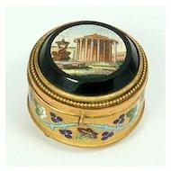 Micro Mosaic, Gilt, Enamel Jewelry Box, c.1860