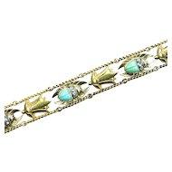 Rare Gold Egyptian Revival Gem-set Scarab Bracelet, Mac Henry Pardonneau, c. 1860s - 1880s