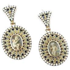 Rare Georgian Gold, Pearl and Enamel Earrings, c. 1775 - 1800
