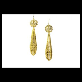 Georgian Cannetille Day / Night Torpedo Earrings, French 1820s