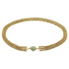 Late Georgian Gold Cannetille Necklace w/ Turquoise Clasp, English c. 1830s