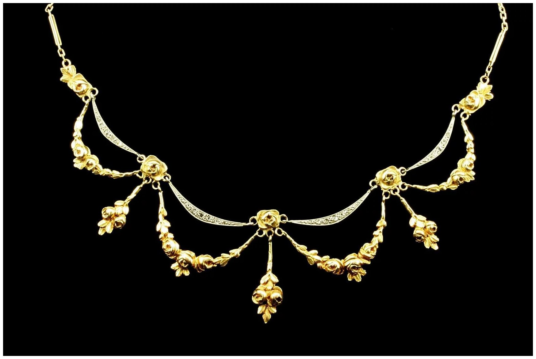 An Antique Rose Garland And Diamond Festoon Necklace C