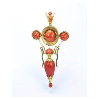 An Exceptional Etruscan Revival Coral Pendant, Italian c. 1870