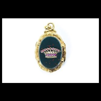 Victorian Bloodstone, Ruby Locket with Count's Crown, French c. 1860