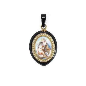 Victorian Whitby Jet Angel Pendant, English circa 1860