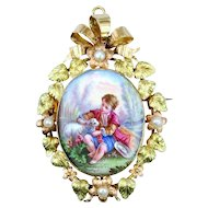 A Fine French Antique Enamel Pendant, Brooch c. 1860s