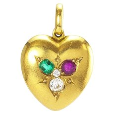 A Victorian Gem-set Heart Locket Charm, English, late 1800s