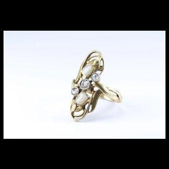 Art Nouveau Gold and Diamond Sentimental Ring, c 1900