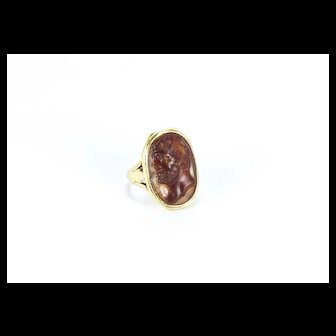 Antique Cameo Ring of Hadrian, Italy 17th c. (cameo), 18th c. (ring)