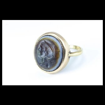 An Ancient Roman Intaglio of Hermes in an Antique Gold Setting