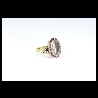 A Unique Victorian Ruby & Rock Crystal Locket Ring, French late 1800s