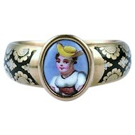 Late Georgian Swiss Enamel Locket Ring, c. 1830