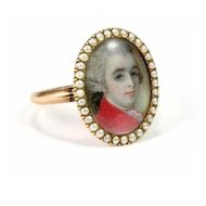 Fine Antique Georgian Portrait Miniature Ring, c. 1775