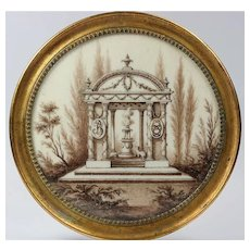 Scarce French Sentimental Sepia Miniature, c.1790 to 1810