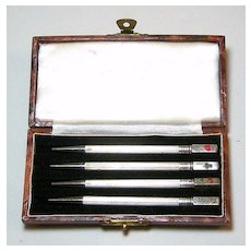 British Sterling Silver Mechanical / Propelling Bridge Pencils (4) w/ Case, c.1930s?