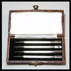 British Sterling Silver Mechanical / Propelling Bridge Pencils (4) w/ Case, c.1930s?