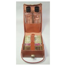 "Leather ""Playmates"" Travel Case w/ Playing Cards, Dice and Glass Bottles"