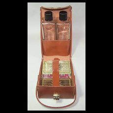 """Leather """"Playmates"""" Travel Case w/ Playing Cards, Dice and Glass Bottles"""
