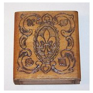 "Bookshelf Pyrographic Playing Card Box, ""Fleur-de-LIs"""