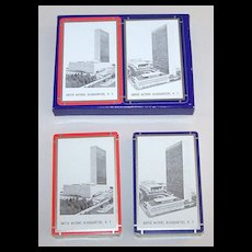 """Double Deck Arrco """"United Nations Headquarters"""" Playing Cards, c.1950s"""
