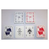 "2 Decks VASS ""Norddeutscher Lloyd Bremen"" Playing Cards, Bechstein Logo Ace of Spades, c.1930"