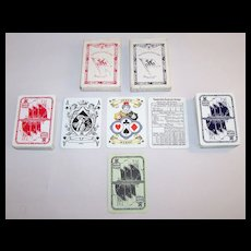 """2 Decks ASS """"Norddeutscher Lloyd Bremen"""" Playing Cards, """"Cherubic"""" Ace of Spades, c.1932"""