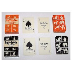 """Twin Decks USPC """"Toy Town"""" Patience Playing Cards (Children's Deck), c.1932, 1933"""