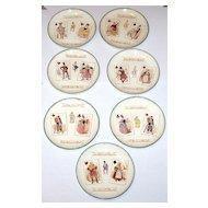 "7 Hippolyte Boulenger ""Choisy le Roi"" Faience (Majolica) Plates, ""Carte À Jouer"" Series, c.1860s"