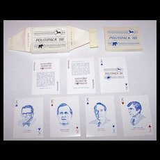 """R. Billingsley """"Politipack '88"""" Playing Cards, Donald Trump 6 Clubs (!), c.1988"""