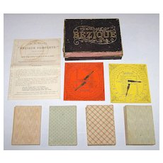 """A.B. Swift """"The Game of Bézique Complete"""" w/ 4 Decks """"A. Dougherty's Best Double Head, Plate Ace Euchre"""" Cards and 2 A.B. Swift Scorers, c.1865"""