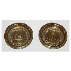 2 Brass Card Game Trays w/ Embossing, c.1830