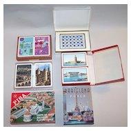 "6 Sets of Souvenir Playing Cards: Piatnik ""Virgin Islands/ Puerto Rico"" (2), Italcards ""Pisa"" (2), Naipes Comas ""Barcelona"" (1); Fournier ""Baraja Turistica"" (1); ASS ""Heidelberg"" (2); Oberg ""Swedish Castles"""