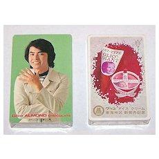 "2 Decks Nintendo ""Glico"" Playing Cards (""Glico Almond Chocolates"" and ""Glico Giant Ice""), $25/ea, ""Young Men"" Designs, Izumi Tamai Artist, c.1967"