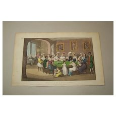 "Thomas Rowlandson Hand Coloured Aquatint, ""Dr. Syntax at a Card Party,"" c.1825"