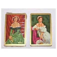 """2 Decks Arrco (Duratone) Glamour/Pin-Up Playing Cards, $25/ea., """"Josephine Bonaparte"""" and """"Nelle Gwyn,"""" Artist Unknown, c.1950s"""