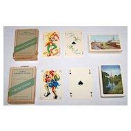 "2 Decks Handa ""Danish Souvenir Series"" Playing Cards, $25/ea.: (i) ""Thorvaldsen Museum"" – ""Luxus-Salon No. 99"" Courts and Joker (Fournier, Denmark 50), c.1959; (ii) ""English Church"" – ""No. 413"" Courts and Joker (Fournier, Denmark 62)."