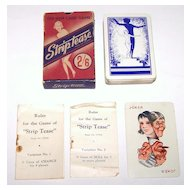 "British Vintage ""Stiptease"" Card Game, Maker Unknown, Barribal Designs (?), c. 1930s"