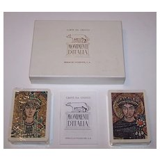 """Double Deck Fournier """"Monumenti d'Italia"""" Playing Cards, c.1962"""