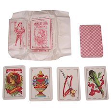 """Clemente Jacques """"Minerva"""" Patience Playing Cards (""""Naipe Miniatura Marca""""), Original Wrapper, c.1930"""