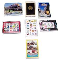 "7 Decks Various Railroad Cards, $5/ea.: (i) Maker Unknown ""Alaska""; (ii) Brown & Bigelo ""Great Western""; (iii) Cartamundi USA ""Trains of North America""; (iv) 3 China Railroad Logo Decks; (v) Hong Kong ""Strasburg Rail Road"""