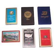 "6 Decks Railroad Cards, $10/ea.: (i) Brown & Bigelow ""Milwaukee Road""; (ii) Liberty ""Missouri Pacific""; (iii) Gemaco ""Burlington Northern""; (iv) USPC ""Missouri Pacific""; (v) Brown & Bigelow ""Northern Pacific""; (vi) Brown & Bigelow ""Rock Island"""