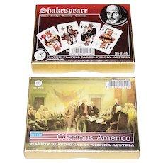 "2 Double Decks Non-Standard Piatnik Playing Cards, $15/ea.: (i) ""Glorious America,"" c. 1994; and (ii) ""Shakespeare,"" Donald Burton Designs, c.1968"