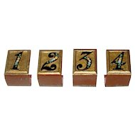 Set of 4 Painted Metal Bridge Table Markers